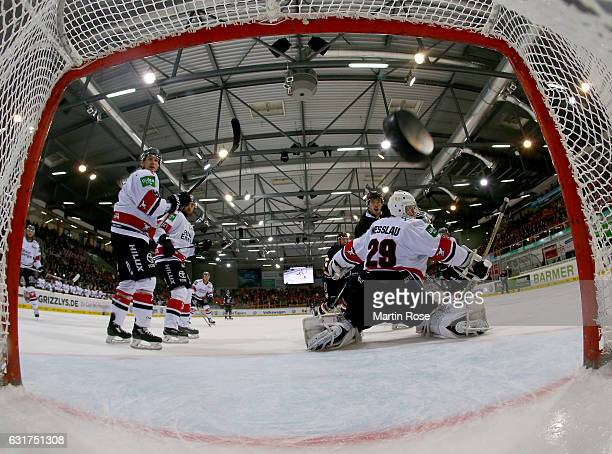 Armin Wurm of Wolfsburg is scoring the opening goal during the DEL match between Grizzly Wolfsburg and Koelner Haie at BraWo Ice Arena on January 15...