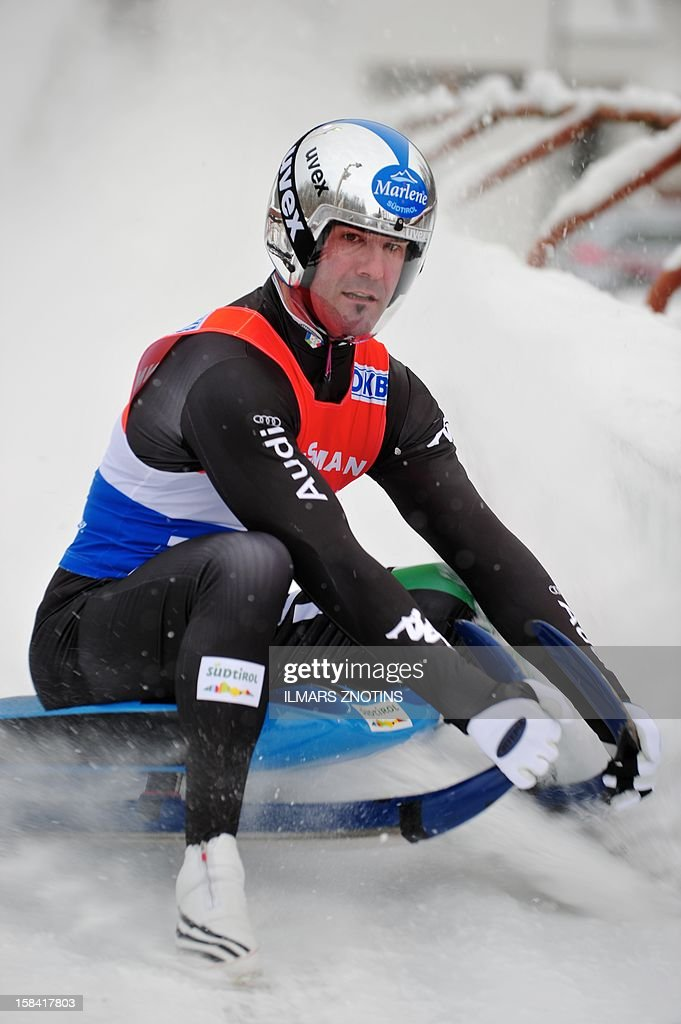 Armin Zoeggeler of Italy competes at Luge World Cup Man competition on December 16 , 2012 in Sigulda, Latvia, some 50 km northeast of Riga. Zoeggeler placed second. AFP PHOTO/ILMARS ZNOTINS