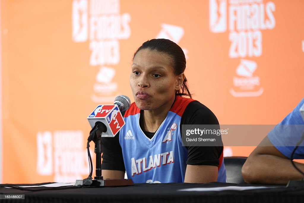 Armintie Herrington #22 of the Atlanta Dream addresses the media after Game 1 of the 2013 WNBA Finals against the Minnesota Lynx on October 6, 2013 at Target Center in Minneapolis, Minnesota.