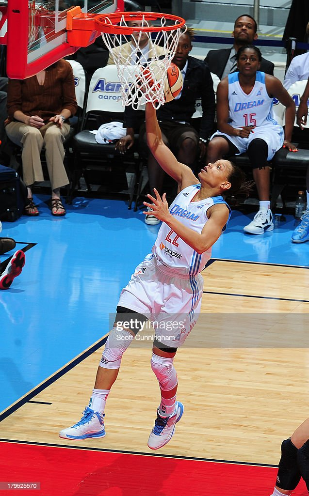 Armintie Herrington #22 of the Atlanta Dream puts up a shot against the Indiana Fever at Philips Arena on September 4 2013 in Atlanta, Georgia.