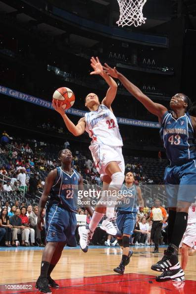 Armintie Price of the Atlanta Dream puts up a shot against the Washington Mystics during Game Two of the 2010 Eastern Conference Semifinals at...