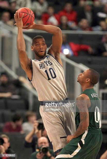 Armon Bassett of the Ohio Bobcats presses Greg Monroe of the Georgetown Hoyas during the first round of the 2010 NCAA men's basketball tournament at...