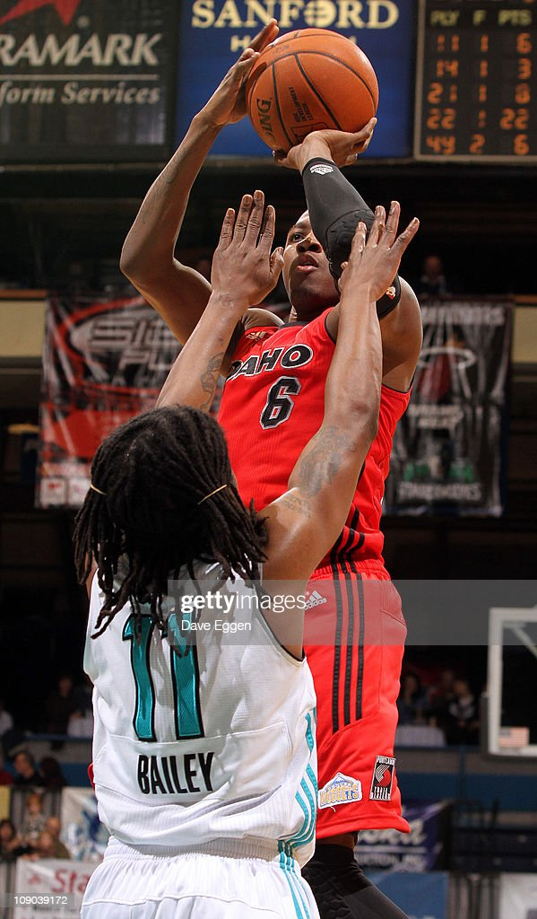 <a gi-track='captionPersonalityLinkClicked' href=/galleries/search?phrase=Armon+Johnson&family=editorial&specificpeople=6530698 ng-click='$event.stopPropagation()'>Armon Johnson</a> #6 of the Idaho Stampede shoots a jumper over David Bailey #11 of the Sioux Falls Skyforce in the first half of their game February 12, 2011 at the Sioux Falls Arena in Sioux Falls, South Dakota.