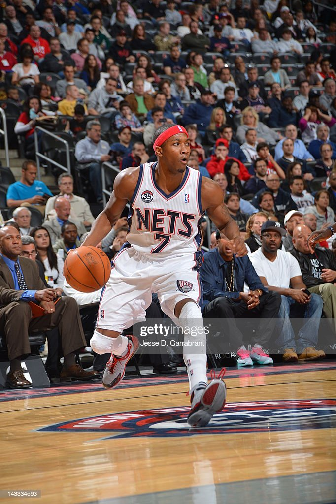 <a gi-track='captionPersonalityLinkClicked' href=/galleries/search?phrase=Armon+Johnson&family=editorial&specificpeople=6530698 ng-click='$event.stopPropagation()'>Armon Johnson</a> #7 of the New Jersey Nets dribbles against the Philadelphia 76ers during the game on April 23, 2012 at the Prudential Center in Newark, New Jersey.