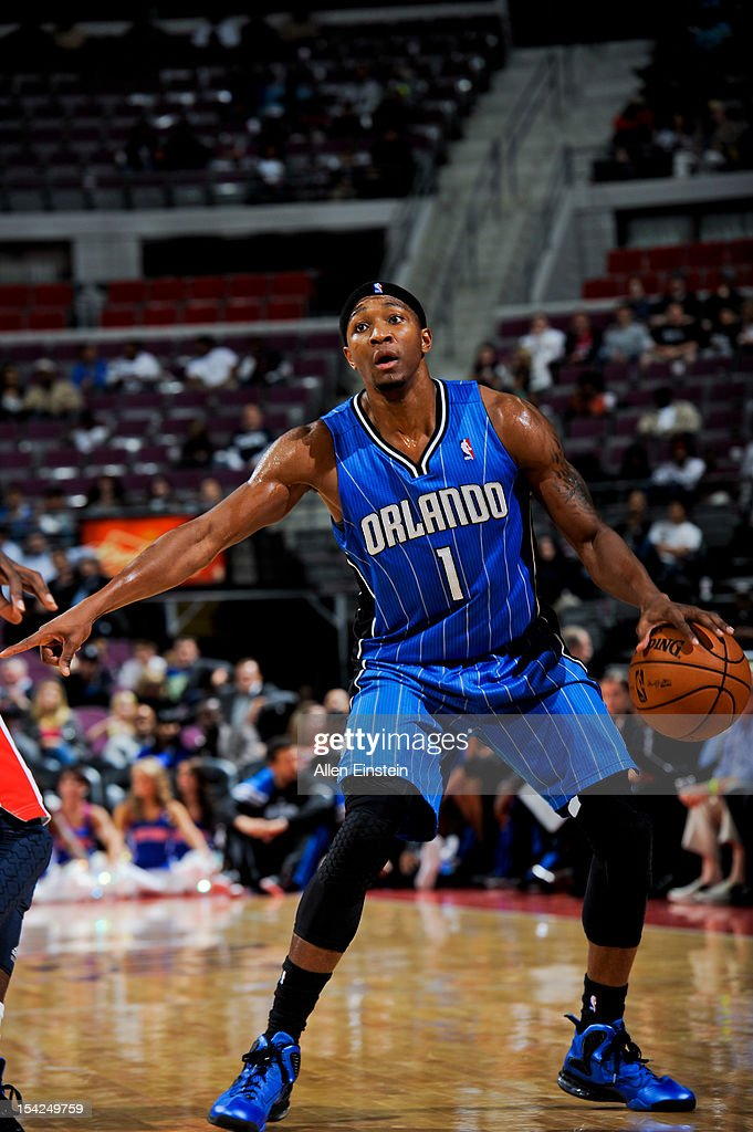 <a gi-track='captionPersonalityLinkClicked' href=/galleries/search?phrase=Armon+Johnson&family=editorial&specificpeople=6530698 ng-click='$event.stopPropagation()'>Armon Johnson</a> #1 of the Orlando Magic directs his teammates against the Detroit Pistons during a pre-season game on October 16, 2012 at The Palace of Auburn Hills in Auburn Hills, Michigan.