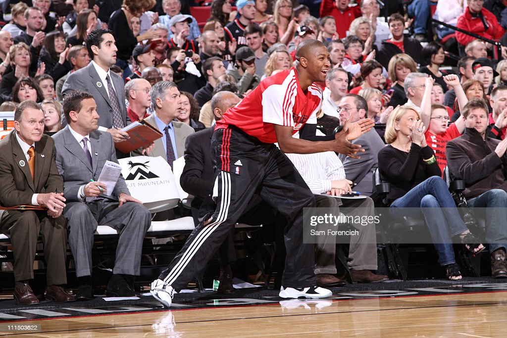 <a gi-track='captionPersonalityLinkClicked' href=/galleries/search?phrase=Armon+Johnson&family=editorial&specificpeople=6530698 ng-click='$event.stopPropagation()'>Armon Johnson</a> #1 of the Portland Trail Blazers reacts after a play against the Dallas Mavericks on April 3, 2011 at the Rose Garden Arena in Portland, Oregon.
