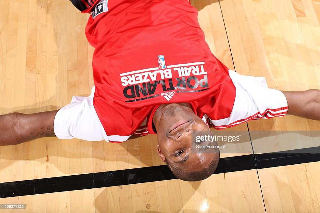 <a gi-track='captionPersonalityLinkClicked' href=/galleries/search?phrase=Armon+Johnson&family=editorial&specificpeople=6530698 ng-click='$event.stopPropagation()'>Armon Johnson</a> #1 of the Portland Trail Blazers smiles on the floor during a game against the Golden State Warriors on December 18, 2010 at the Rose Garden Arena in Portland, Oregon. The Trail Blazers won 96-95.