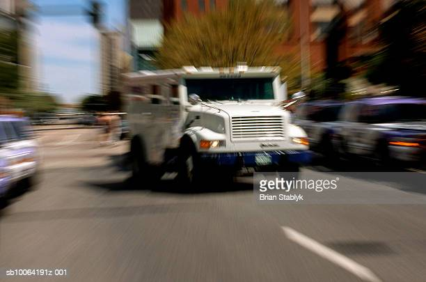 Armored truck in street (zoom)