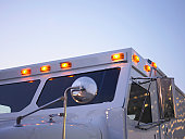 Armored truck with lights on