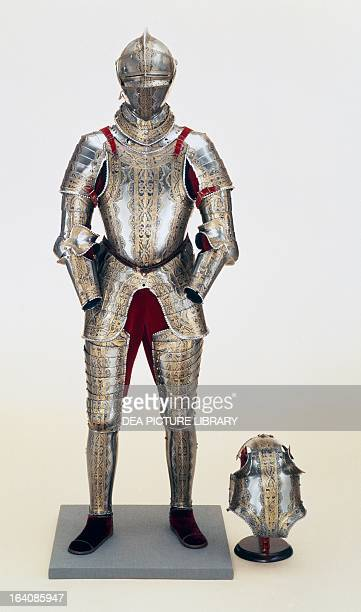Armour of Emperor Maximilian II of Habsburg with gilded decorations work by Jorg Sorg the Younger Augsburg Germany 1548 Philadelphia Philadelphia...