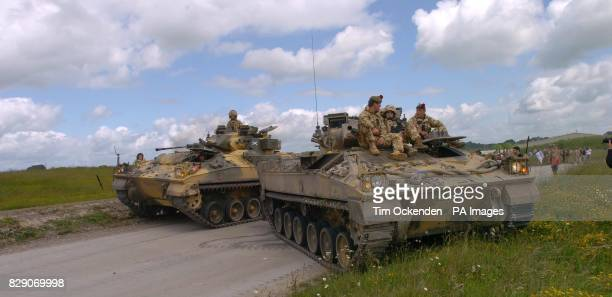Armoured vehicles and soldiers of the 1st Battalion The Black Watch during a training exercise on Salisbury Plain before the Battallion's deployment...