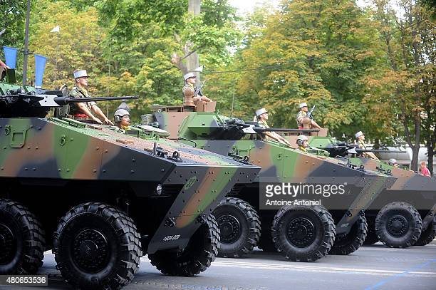 Armoured vehicles parade during the annual Bastille Day military parade on July 14 2015 in Paris France
