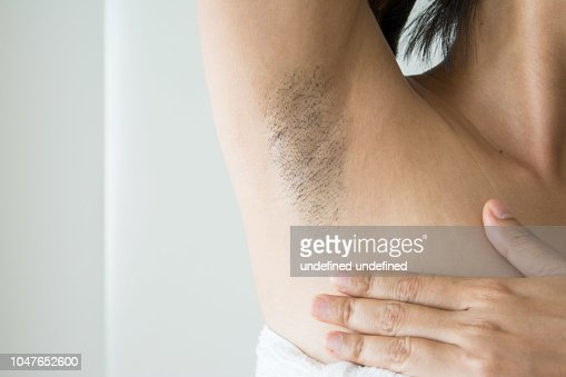 Armpit And Armpit Hair Of Asian Women On White Background Stock