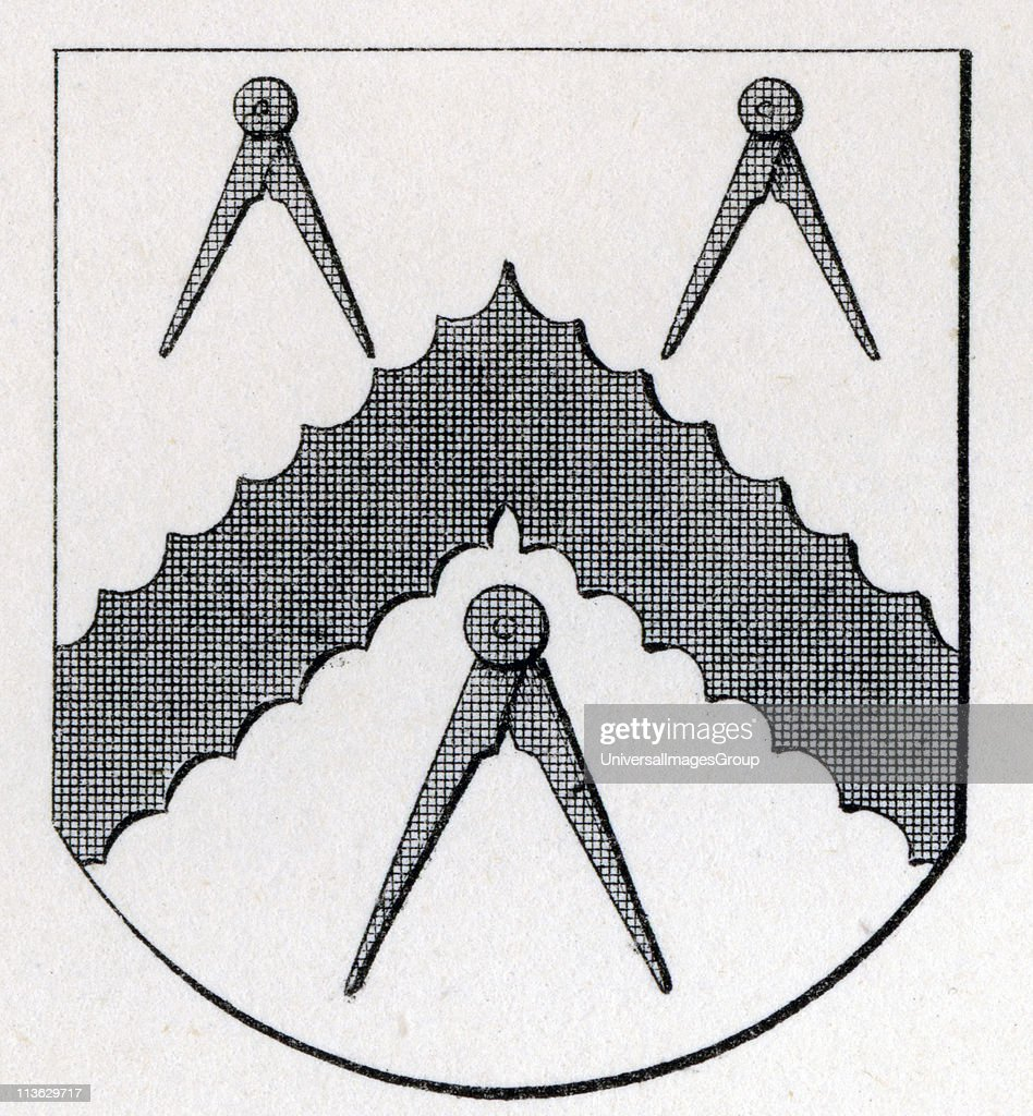 Arms of Masons Carpenters London Stow 1633 from the book The History of Freemasonry Volume II Published by Thomas C Jack London 1883