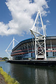 View of the Welsh national rugby stadium in Cardiff, Wales over looking the River Taff.