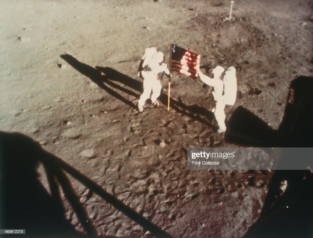 Armstrong and Aldrin unfurl the US flag on the moon 1969 Apollo 11 the first manned lunar landing mission was launched on 16 July 1969 and Neil...