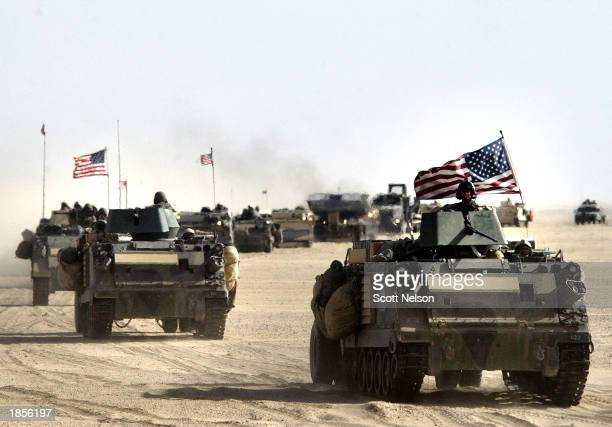 S Army 11th Engineers attached to the 37 infantry move into position March 18 2003 ahead of a possible military strike near the KuwaitIraq border In...