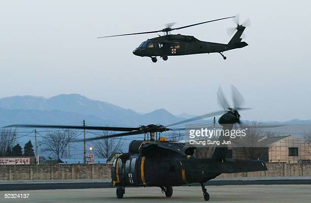 Army 542nd Medical Company Black Hawks leave Camp Page for relocation to Camp Eagle in Wonju on March 9 2005 in Chuncheon South Korea The...