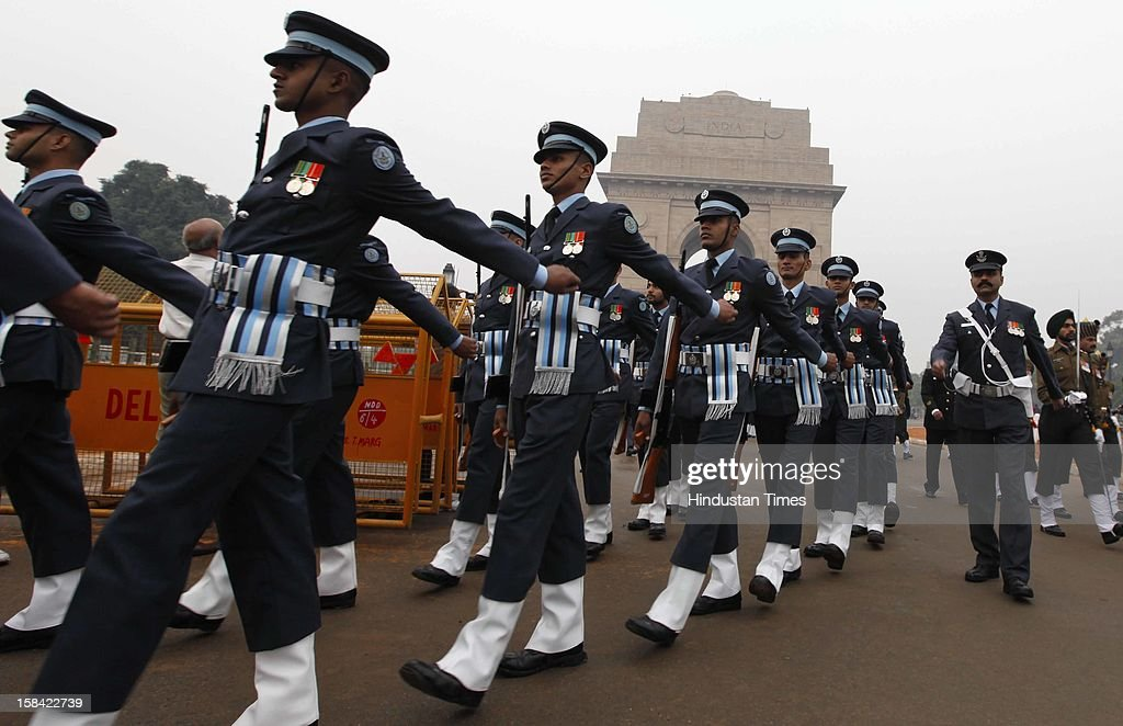 Army and Air force jawans marching before the paying homage to the Martyrs of 1971 war at Amar Jawan Jyoti at India Gate on December 16, 2012 in New Delhi, India.