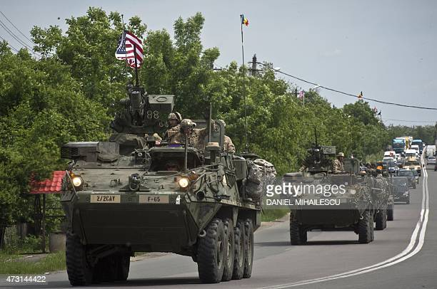 US Army armored vehicles are pictured in Ploiesti on May 13 2015 Some 400 US soldiers from the 2nd Cavalry Regiment 2nd Battalion of the US Army with...