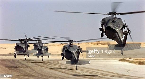 US Army Black Hawk helicopters lift off October 6 1999 during Exercise Bright Star ''99/00 at Cairo West Air Base in Egypt The Department of Defense...