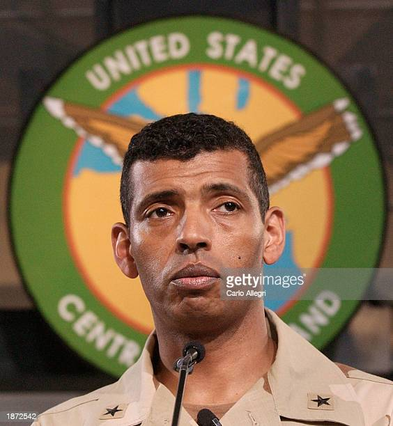 US Army Brigadier General Vincent Brooks listens to questions during a briefing at the Coalition Media Center at Camp As Sayliyah March 26 2003 in...