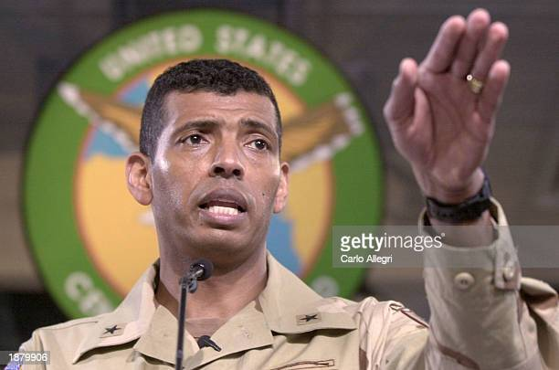 US Army Brigadier General Vincent Brooks takes a question during a briefing at the Coalition Media Center in Camp As Sayliyah March 27 2003 in Doha...