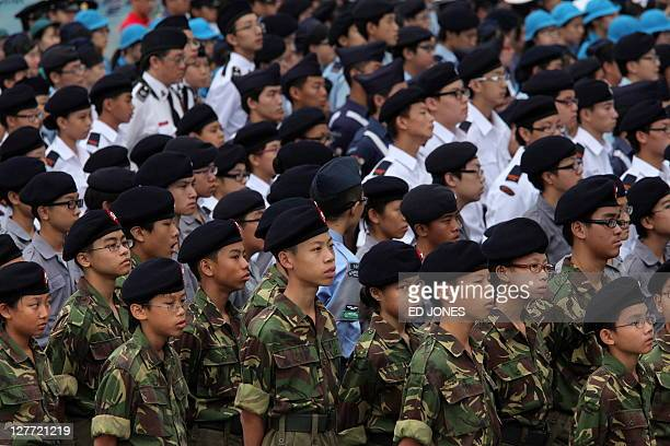 Army cadets stand in formation as they attend a flag raising ceremony as part of China's National Day celebrations in Hong Kong on October 1 2011...