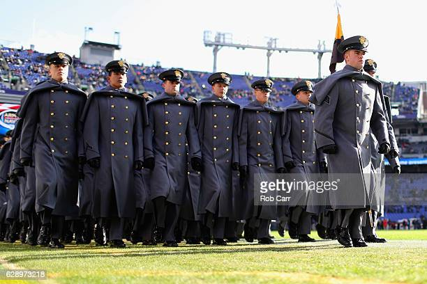 Army cadets take the field before the start of the Army Black Knights and Navy Midshipman game at MT Bank Stadium on December 10 2016 in Baltimore...