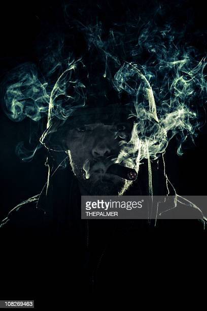 army captain puffing smoke