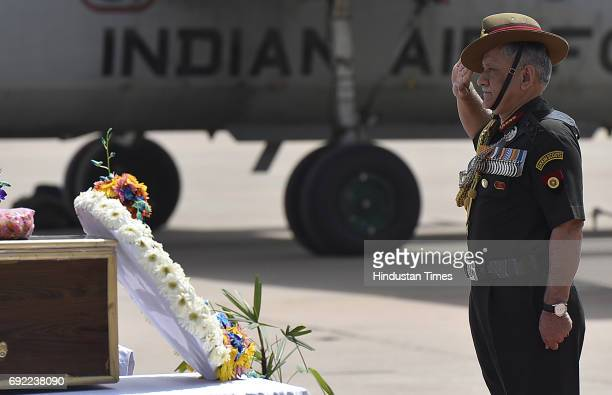 Army Chief Bipin Rawat pays tribute to martyrs Naik Dipak Maity and Gnr/Opr Manivannan G who laid down lives in terrorist action on convoy in Kulgam...