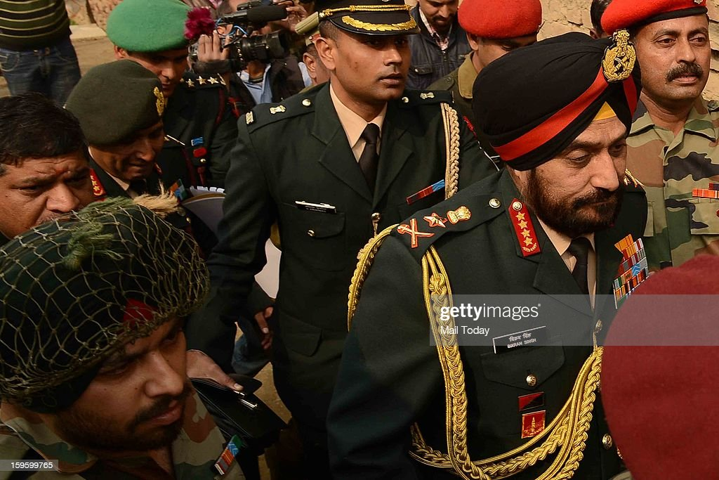 Army Chief Gen Bikram Singh at lance Naik Hemraj village near Mathura on Wednesday.