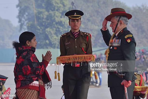 Army Chief Gen Bipin Rawat honours Siachen braveheart Lance Naik Hanamanthappa Koppads widow during the Army Day parade in New Delhi
