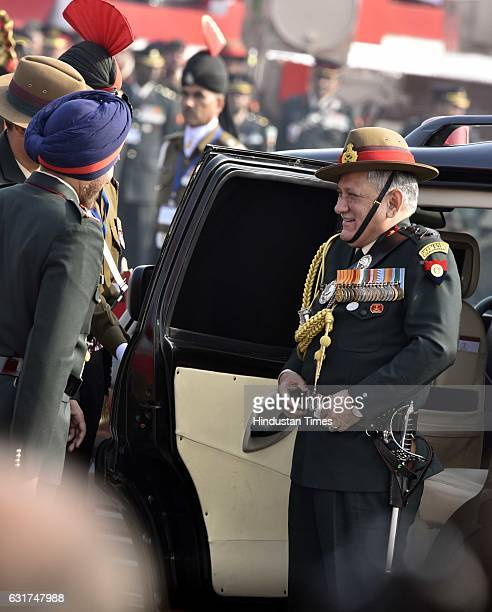 Army Chief General Bipin Rawat arrives during the Army Day Parade 2017 at Delhi Cantt on January 15 2017 in New Delhi India The day marks the taking...