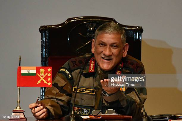 Army Chief General Bipin Rawat during the annual press conference at Manekshawa Centre on January 13 2017 in New Delhi India