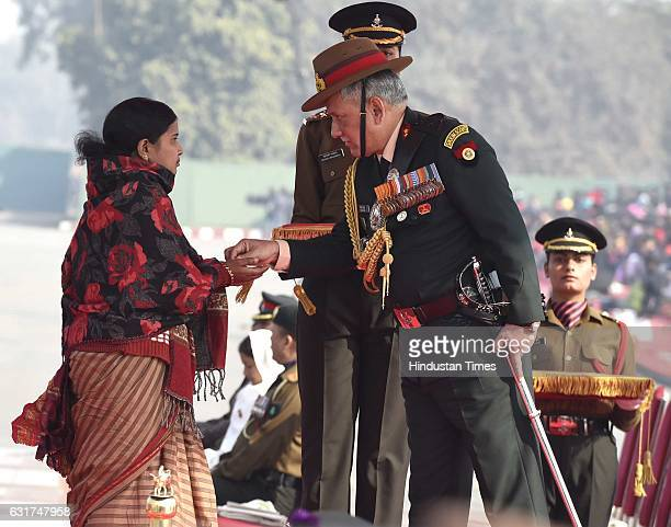 Army Chief General Bipin Rawat presenting posthumous honour to Lance Naik Hanumanthappa who died in an avalanche at Siachen on the occasion of Army...
