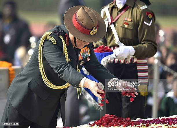 Army Chief Lt General Bipin Rawat pays tribute to Mahatma Gandhi on his 69th death anniversary at Rajghat on January 30 2017 in New Delhi India...