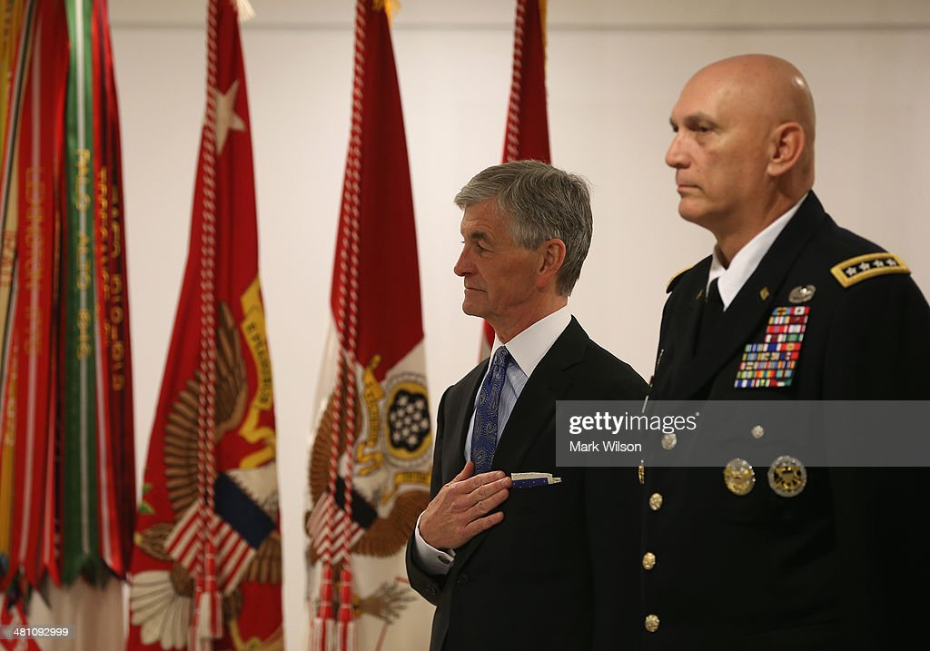 Army Chief of Staff Gen. Raymond Odierno (R) and Army Secretary John McHugh participate in an event on Sexual Assault in the military at the Pentagon, on March 28, 2014 in Washington, DC. The event was held to highlight the month of April as sexual assault awareness month.