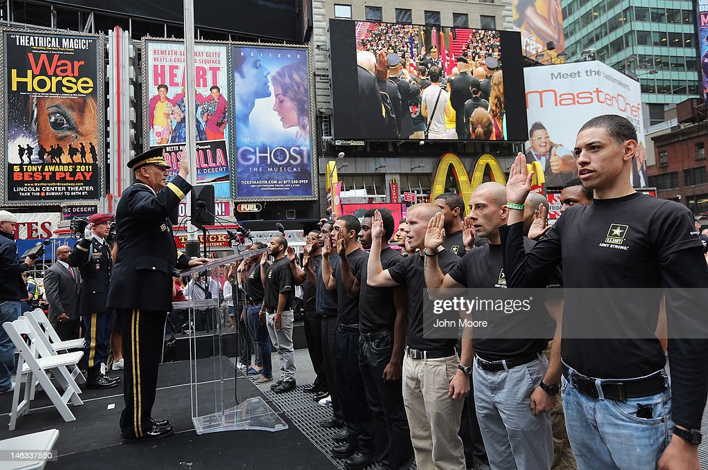 U.S. Army Chief of Staff Gen. Raymond Odierno swears in new recruits while marking the Army's 237th birthday on June 14, 2012 in Times Square in New York City. Odierno was joined by fellow Army troops and New York dignitaries as he swore in 16 new recruits during the ceremony.