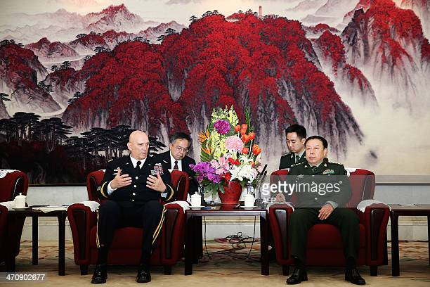 US army Chief of Staff General Ray Odierno meets with Fan Changlong Deputy Chaiman of the Central Military Commission at Bayi Building in Beijing on...