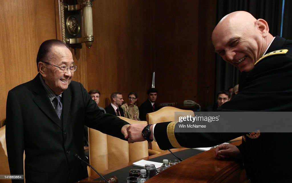 U.S. Army Chief of Staff General Raymond Odierno (R) greets Sen. Daniel Inouye (D-HI) (L) before a hearing of the Senate Appropriations Committee March 21, 2012 in Washington, DC. Odierno and Secretary of the Army John McHugh and Odierno testified on the budget for the Department of the Army.