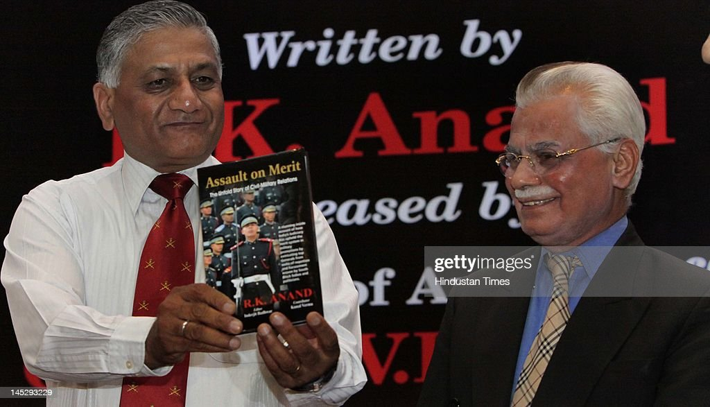 Army Chief V K Singh (L) releases the book 'Assault on Merit' with its author lawyer R K Anand (R)during a function May 25, 2012 in New Delhi, India. Singh retires on May 31 and will be replaced by Lieutenant General Bikram Singh as Chief of Army Staff.