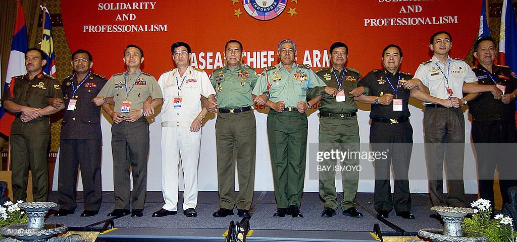 ASEAN army chiefs Col Abdur Rahmani of Brunei Lt Gen Meas Shopea Cambodia Lt Gen Efren L Abu Philippines Maj Gen Nguyen Nang NguyenVietnam Gen...