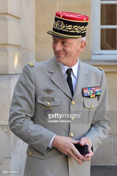 Army Commander in Chief General Francois Lecointre leaves after a meeting with French Prime Minister Edouard Philippe at Hotel Matignon on July 21...