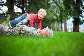 Army Family Series: Real American Soldier With Son