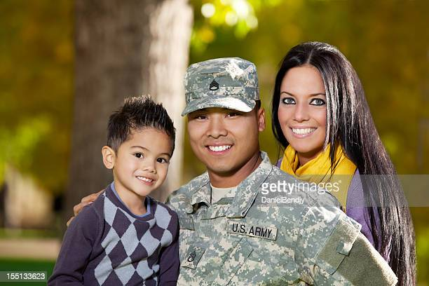 Army Family Series: Real American Soldier With Wife & Son