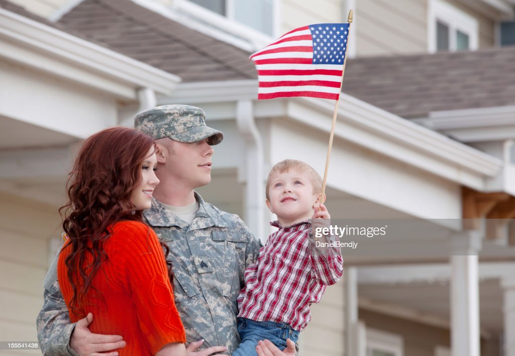 Army Family Series: Real American Soldier with Wife & Son Outdoor : Stock Photo