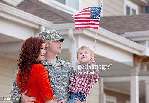Army Family Series: Real American Soldier with Wife & Son Outdoor
