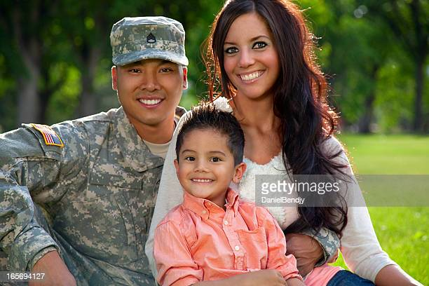 Army Family Series: Young American Soldier With Wife & Son
