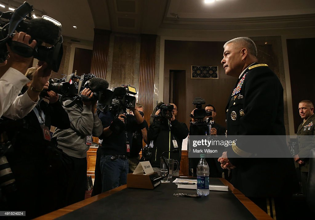 Army Gen John Campbell commander of the Resolute Support Mission and United States Force Afghanistan prepares to testify during a Senate Armed...
